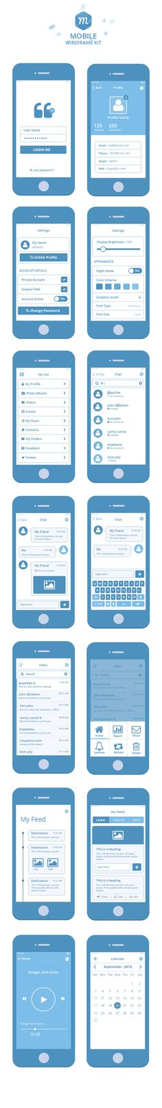 Mobile Wireframe Kit PSD › Wireframes