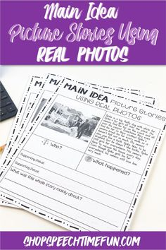 Looking for ways to work on main idea using simple stories and pictures to help with comprehension? No prep worksheets with graphic organizers right on the page makes it easy to teach and practice this tricky skill in speech therapy.