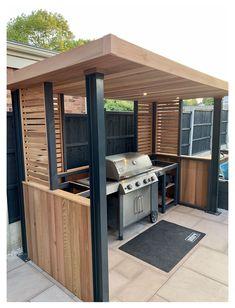 Outdoor Bbq Kitchen, Outdoor Kitchen Design, Outdoor Grill Area, Diy Bbq Area, Outdoor Grill Station, Outdoor Bars, Outdoor Grilling, Back Garden Design, Modern Garden Design