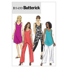 Misses'/Misses' Petite Top, Tunic, Dress and Pants-BB (8-10-12-14) Pattern