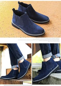 7d6b6c6eedc Men Chelsea Boots Slip On Suede High Top Classic Mens Shoes Genuine Le -  sheheonline