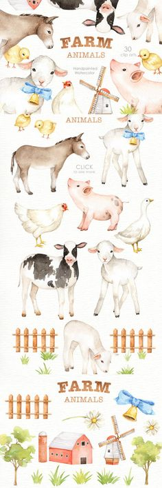 The set of high quality hand painted watercolor farms animals and elements. A pig, sheep, goat, chicken, cow and other animal illustrations are included in this set. Included 2 beautiful pre-made card. Perfect for wedding invitations, greeting cards, quotes, posters, logo, blogs and DIY. Ad #graphicdesign #watercolor #animal