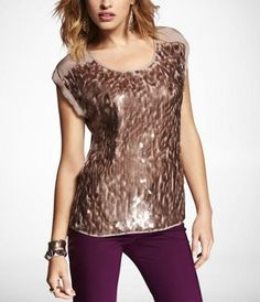 SHORT SLEEVE PAILLETTE EMBELLISHED EASY TEE at Express