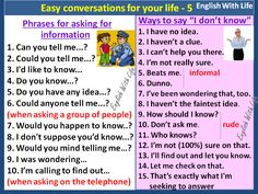"Easy conversations for your life 5 - Phrases for Asking for Information. Ways to say ""I don't know""."