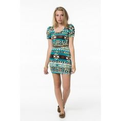 Turquoise & Brown Tribal Dress
