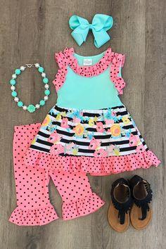 7 yrs Mint Coral Gray Girls Tunic Ruffle Capri Boutique 2 pc Set 6 mo Grey