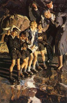 DEAN CORNWELL Wartime Evacuation Oil on Canvas 40″ x 29.5″