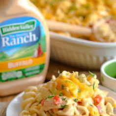 Ranch Mac 'n Cheese - Extra Creamy Recipe Video Baked Ranch Chicken, Ranch Chicken Recipes, Chicken Meals, Buffalo Chicken, Spring Pasta Salad Recipe, Summer Pasta Salad, Lunch Recipes, Dinner Recipes, Cooking Recipes