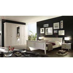 Schlafzimmer Mit Bett 200 X 200 Cm Kiefer Massiv Weiss Lasiert Forestdream  Bozen Klassisch