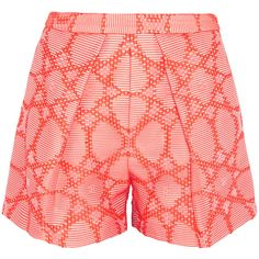 MSGM Cotton-blend jacquard shorts (£95) ❤ liked on Polyvore featuring shorts, short, bright orange, high rise shorts, high waisted orange shorts, high-waisted shorts, highwaist shorts and orange shorts
