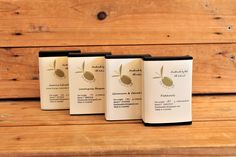 One of each variety below: A. 1 x Patchouli Pure olive oil soap Ingredients: Australian Extra Virgin Olive Oil, Goat's Milk, Water,. Carrot Seed Essential Oil, Patchouli Essential Oil, Essential Oils, Pure Olive Oil, Olive Oil Soap, Clove Bud, Green Clay, Sodium Hydroxide, Cold Process Soap