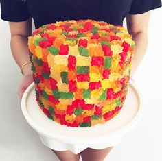 Let these creative candy-covered cakes from Shelby's Sweet Shoppe inspire your next baking project. Candy Images, Candy Pictures, Gummy Bear Cakes, Gummy Bears, Food Network Canada, Cake Cover, Candy Party, Cupcake Cookies, Cupcakes