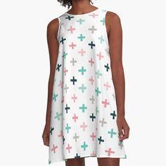 'Swiss Crosses - Blush and Mint' A-Line Dress by daisy-beatrice Cute Pattern, Geometric Designs, Blush Pink, Chiffon Tops, V Neck T Shirt, Daisy, Hoodies, Tees, Pretty