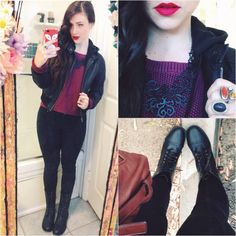 Fall Fashion & Rainy Day OOTD | ambiance pleather hoodie from dd's discounts, necklace from kaka jewelry etsy, love by design sweater from Nordstrom, free people pants, blue berry boots from dd's discounts, assorted rings, Marc by Marc Jacobs purse & NYC 'bloody Mary' matte lipstick & 'monte Carlo' matte lip creme