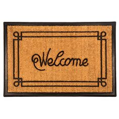 Welcome with Border 24x36 Recycled Rubber and Doormat