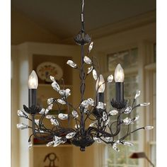 ***FREE SHIPPING***This 3-Light Iron and Crystal Chandelier will Add a touch of elegance to your home decor with this fancy chandelier.3-Light Iron and Crystal ChandelierThree-light chandelier has an