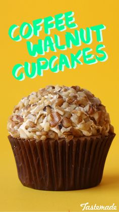 These coffee walnut cupcakes are perfect for breakfast.