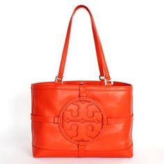 Tory Burch Holly E/w Leather Tote Blood Orange