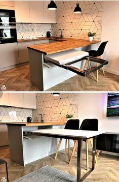 Like the tiles Kitchen Room Design, Modern Kitchen Design, Home Decor Kitchen, Interior Design Kitchen, Kitchen Furniture, Home Kitchens, Interior Modern, Home Interior, Table Furniture
