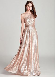 f9d712b1ae  117.99  In Stock Romantic Sequins Lace One Shoulder Neckline Floor-length  A-line Formal Dress