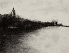 "Landscape Charcoal Drawings | Charcoal Landscape VI (Charcoal on paper, 18"" X 24"") – 2009"