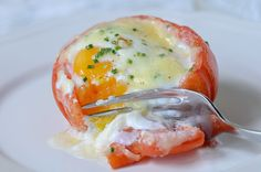 Breakfast Recipe - Baked Eggs in Tomato Cups