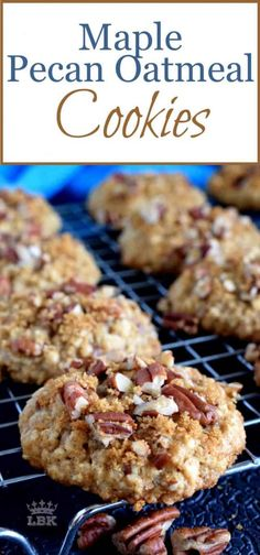 A thick, chewy, moist cookie with great flavour and crunch too! Maple Pecan Oatmeal Cookies are delicious, delightful, and a great cookie for the holidays! Oatmeal Dessert, Healthy Oatmeal Cookies, Oatmeal Chocolate Chip Cookies, Oatmeal Cookie Bars, Oatmeal Breakfast Cookies, Cookie Crunch, Maple Syrup Cookies, Pecan Cookies, Pecan Cookie Recipes