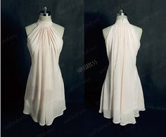 Awe caual bride...   Etsy listing at http://www.etsy.com/listing/154203959/halter-bridesmaid-dress-chiffon