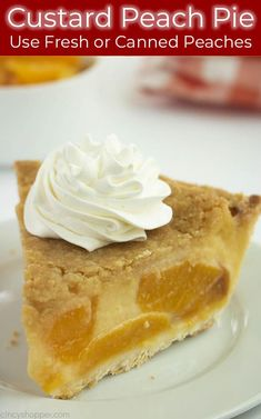 Custard Peach Pie is sweet, creamy, and oh so delicious! We make it with creamy custard, fresh or canned peaches, and top it with crumb topping. Peach Custard Pies, Custard Desserts, Frozen Custard, Custard Buns, Peach Pie Recipes, Banana Pudding Recipes, Vanilla Recipes, Yummy Recipes, Sweet Recipes