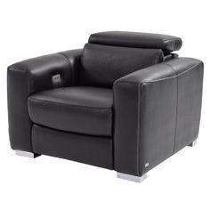 "Bay Harbor Black 39"" Power-Motion Leather Recliner"
