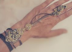 Steampunk Slave Bracelet With Ring Chains And by MayaHandmade, $65.00