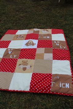 dětská deka - červenokrémová  medvědí
