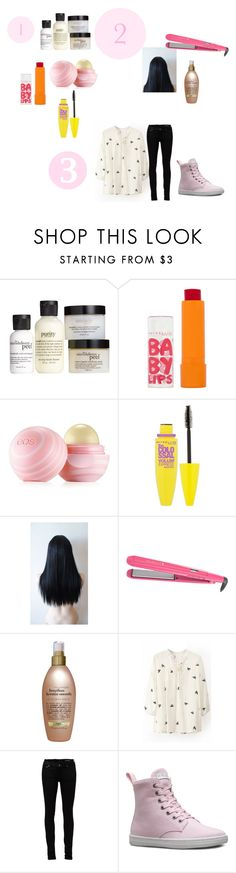 """Get Ready With me"" by happygirlavenue ❤ liked on Polyvore featuring philosophy, Maybelline, Eos, Kenzie, Remington, Organix, Yves Saint Laurent, Dr. Martens, women's clothing and women"
