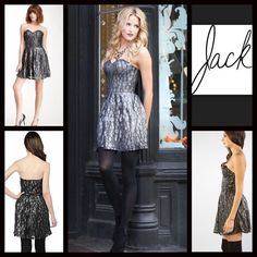 """BB DAKOTA Mini Dress Cocktail Sequin Metallic LBD NEW WITH TAGS RETAIL PRICE: $78  ***Tagged BB DAKOTA for Urban Outfitters Metallic Embellished Lace Dress  * Strapless sweetheart bodice  * Lace overlay  * Side zip   * Approx 26""""L; lined   * Tagged size 4 (S), will fit sizes 2-4; Waist=26""""; Or size 6 (S) waist = 27""""  * Vintage style Fabric:Cotton & nylon Color: Silver Black   Pastel # sexy club homecoming Bodycon body conscious bandage  No Trades ✅ Offers Considered*/Bundle Discounts✅…"""