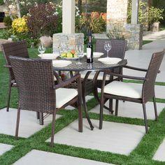 Hayden Outdoor 5 Piece Dining Set with Cushions #birchlane