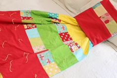 Patchwork Quilt Quillow using Riley Blake's Apple of my Eye fabrics Cozy Couch, Red Pillows, Personalized Labels, Riley Blake, Thread Crochet, Tie The Knots, Quilt Making, Flannel, Fabrics