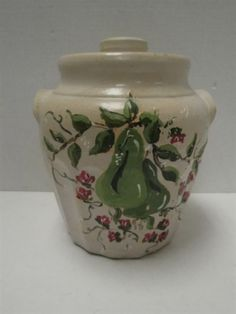 Ransburg Cookie Jar Pear on White Vintage Cookies, Light Painting, Cookie Jars, Stoneware, Pear, Pottery, Hand Painted, Thrift Stores, Online Marketplace