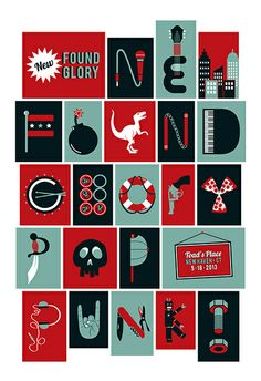 Gig posters, flyers and handbills from around the world! Concert Posters, Gig Poster, New Found Glory, Pop Punk, Vector Design, Illustration Art, Lyrics, Scene, Concerts