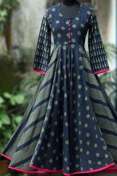 swirl dress - midnight story under cherry blossom Indian Gowns Dresses, African Fashion Dresses, Pakistani Dresses, Fashion Outfits, Kurta Designs Women, Blouse Designs, Cotton Long Dress, Kurti Designs Party Wear, Designs For Dresses