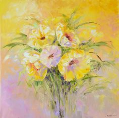 oil painting yellow bouquet 60х60 см