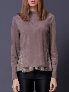 #AdoreWe #StyleWe Tops - JASICO Camel Two Piece Long Sleeve Lace Paneled Long Sleeved Top - AdoreWe.net