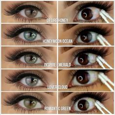 colored eye contacts 4 or Which color is your fave? Mention a number in the comment Contact Lenses in: Contact Lenses For Brown Eyes, Eye Contact Lenses, Coloured Contact Lenses, Natural Contact Lenses, Natural Color Contacts, Best Colored Contacts, Green Contacts, Rare Eye Colors, Rare Eyes