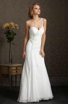 Chiffon White Court Train Sweetheart One Shoulder Trumpet/ Mermaid #Wedding #Gown Style Code: 07638 $159
