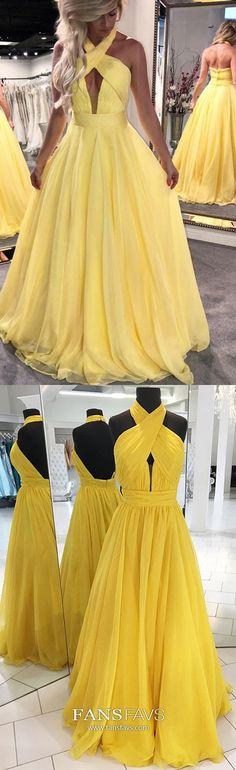 Yellow Prom Dresses Long,Princess Prom Dresses Open Back,Halter Prom Dresses Chiffon,Halter Prom Dresses Sleeveless