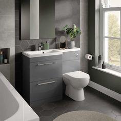 White Space Gloss Ash Grey L Shaped Unit Sink Units, Vanity Units, Drawer Lights, Bathroom Furniture, Bathroom Ideas, Shower Cubicles, Chrome Handles, Shower Systems, Towel Rail