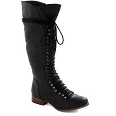 ModCloth Steampunk Follow the Cedar Boot ($20) ❤ liked on Polyvore featuring shoes, boots, modcloth, black, flat boot, boot - bootie, ankle boots, black boots, black military boots and black high boots
