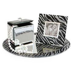 Boxes, Jars & Tins Vanity Mirror Set, Round Tray, Jewlery Box & Picture Frame Zebra - All In One & Garden Picture Frames For Sale, Picture Frame Sizes, Picture Frames Online, Vanity Set, Mirror Vanity, Frames Direct, Travel Jewelry Organizer, Yellow Jewelry, Round Tray
