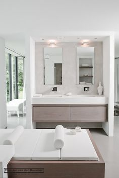 Love the clean look, colors, the lights over mirror. Even more storage under cabinets would be good