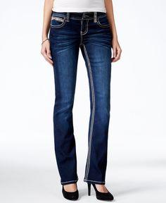 Ariya Juniors' Slim-Fit Dark Blue Wash Bootcut Jeans