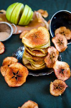 Cinnamon Sugar Apple Chips (Yum!) | via Give Recipe.....So simple. Slice apples. Put on shallow baking pans covered with parchment paper. Dust both sides with cinnamon and sugar. Bake at 100 degrees for an hour. Turn over and bake another hour. Let cool in oven.